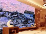 Mountain Mural On Wall Custom Size 3d Wallpaper Living Room Mural Snow Scenery Country House Oil Painting sofa Tv Backdrop Wallpaper Non Woven Wall Sticker Wallpaper