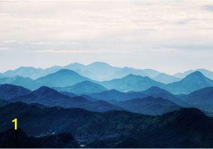 Mountain Mural Wall Art Misty Mountain Wallpaper Foggy Mountain Silhouette by