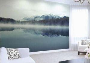 Mountain Mural Wall Art Mountain Lake Wallpaper Mural Foggy Ombre Mountain Lake