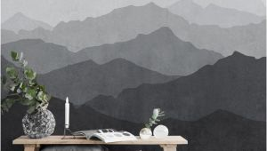 Mountain Mural Wall Art Mountain Mural Wallpaper Black and White Grey Ombre