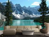 Mountain Mural Wall Art Wallpaper Azure Blue Lake Banff Rocky Mountain 3d Full Wall Mural