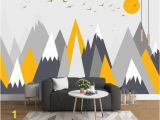 Mountain Mural Wall Art Wallpaper Grey Geometry Mountain Wallpaper Abstract Mountain with
