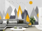 Mountain Wall Mural Kids Simple Triangle Geometric Mountains Wallpaper Modern