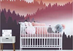 Mountain Wall Mural Nursery Abstract Air Balloon at Sunset Wall Mural