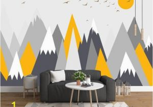 Mountain Wall Mural Nursery Grey Geometry Mountain Wallpaper Abstract Mountain with