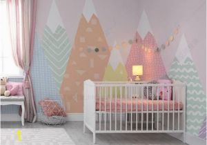 Mountain Wall Mural Nursery Hand Painted Geometric Nursery Children Wallpaper Pink