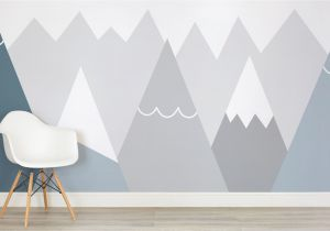 Mountain Wall Mural Nursery Kids Blue and Gray Mountains Wall Mural
