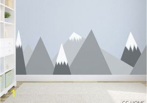 Mountain Wall Mural Nursery Mountains Wall Decal Woodland Baby Room Decal Clouds Birds