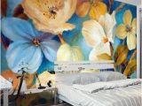 Mural Art Wall Hangings Beautiful Dream Fresh Blue Light Yellow Blooming Flowers