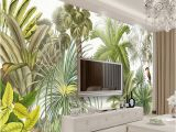 Mural Canvas Wall Covering 3d Custom 3d Wall Mural Wallpaper Tropical Rainforest Green Plants Hand Painted Oil Painting Living Room sofa Background Wall Paper I Wallpapers Hd Image