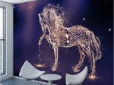 Mural Canvas Wall Covering 3d ₪shinehome 3d Glittering Running Horse Wallpapers 3 D Animal