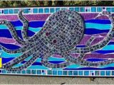 Mural Mosaic Puzzles Octopus Beach Ocean Sea Life Nautical Mosaic Stained Glass