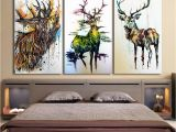 Mural On Bedroom Wall Canvas Deer Head Painting Home Wall Living Room Rectangle
