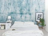 """Mural On Concrete Wall Chipped Blue Concrete 8 X 144"""" 3 Piece Wall Mural"""
