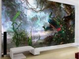 Mural Painting Cost 3d Nature Wallpaper Beautiful Peacock forest 3d Stereo Oil Painting