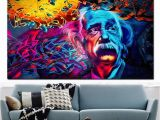 Mural Painting Materials 2019 Einstein Brain Canvas Painting Abstract Pop Art Spray Painting