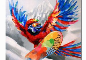 Mural Painting Prices 2019 Hand Painted Free Shippiing Pop Art Oil Painting Animal Parrot