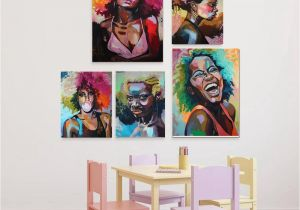 Mural Painting Prices Afro Woman Portrait Wall Art Canvas Print Abstract Multi African