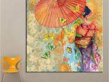 Mural Painting Supplies 2019 1 Panel Wall Art Japanese Kimono Oil Painting Canvas Wall
