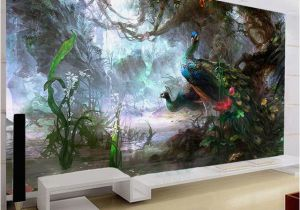 Mural Painting Supplies 3d Nature Wallpaper Beautiful Peacock forest 3d Stereo Oil Painting