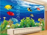 Mural Painting Supplies 3d Wallpaper Stereo Cartoon Underwater World Fish Mural Kid S