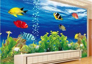 Mural Painting Supplies 3d Wallpaper Stereo Cartoon Underwater World Fish Mural Kid S
