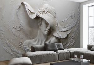 Mural Painting Supplies Custom Wall Cloth 3d Embossed Abstract Beauty Figure Wall Paper