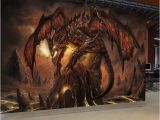 Mural Paints Supplies Custom Mural Wallpaper World Warcraft Fiery Dragon Background