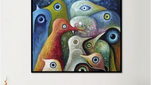 Mural Size Prints Animal Single Painting Multi Color Abstract Square Birds Canvas