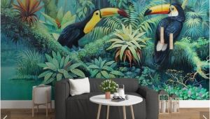 Mural Wall Art Decor Tropical toucan Wallpaper Wall Mural Rainforest Leaves