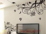 Mural Wall Art Stickers Wall Decals Flower with butterfly Home Decor
