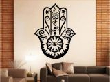 Mural Wall Hangings Indian Art Design Hamsa Hand Wall Decal Vinyl Fatima Yoga Vibes Sticker Fish Eye Decals Buddha Home Decor Lotus Pattern Mural Stickers for Walls In Bedrooms