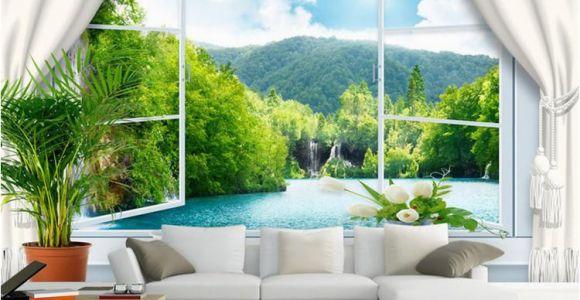 Mural Walpaper Custom Wall Mural Wallpaper 3d Stereoscopic Window Landscape