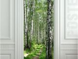Murals for Doors Door Sticker Wood Tree forest Birch Way Mural Decole Film Self