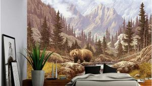 Murals for Large Walls Grizzly Bear Mountain Stream Wall Mural Self