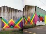 Murals for Outdoor Walls Modify An Old Barn with Bold Colors to Beautify the Outdoor Wall