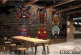 Murals for Restaurant Walls Animal Mandala Colorful Designs Black Wall Restaurant Art