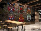 Murals for Restaurant Walls Animal Mandala Colorful Designs Black Wall Restaurant Art