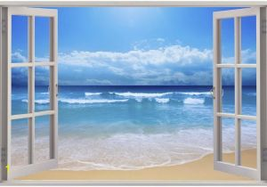Murals for Windows Huge 3d Window Exotic Beach View Wall Stickers Mural Art Decal
