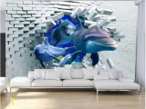 Murals On Wall which are Bricks Wdbh 3d Wallpaper Custom Brick Wall Broken Wall Deep Sea Animal Dolphin Room Home Decor 3d Wall Murals Wallpaper for Walls 3 D Hd Wallpapers A