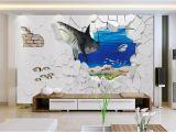 Murals Your Way Coupon 3d Wallpaper Fashion Sea Shark Broken Wall Painting 3d Living Room
