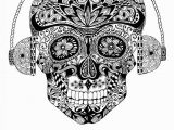 Music is My Life Coloring Pages Music is My Life Skull and Headphones ornate by