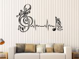Music Murals for Walls Vinyl Wall Decal Musical Note Heartbeat Pulse Music Art Stickers