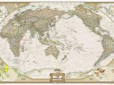 National Geographic Executive World Map Wall Mural World Executive Pacific Centered [enlarged and Tubed