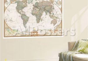 National Geographic Wall Murals French Executive World Map Wall Mural by National Geographic Maps at