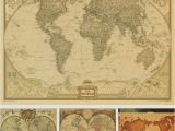 National Geographic World Map Wall Mural Vintage World Map Wall Stickers Home Decor Art Wallpaper Decoration Retro Paper Matte Kraft Paper Map World