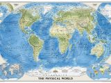 National Geographic World Map Wall Mural World Physical Sleeved by National Geographic Maps