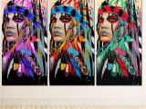 Native American Indian Wall Murals Modern Native American Indian Girl Feathered Canvas Painting for