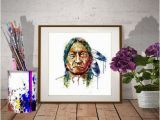 Native American Indian Wall Murals Sitting Bull Portrait Instant Download Watercolor Painting Native