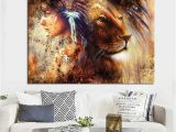 Native American Wall Murals Hd Print Abstract Native American Girl Indian Feathered Lion Animal